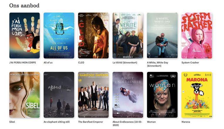 Screenshot van het platform lumiereseries.com (Cinema bij je thuis), dat nu wordt aangevuld met recente filmtitels. Beeld RV