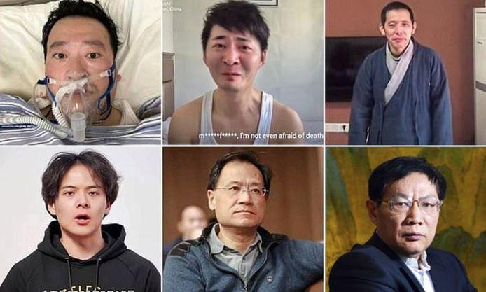 De haut en bas et de gauche à droite: Li Wenliang, Chen Qiushi, Fang Bin, Li Zehua, Xu Zhangrun et Ren Zhiqiang