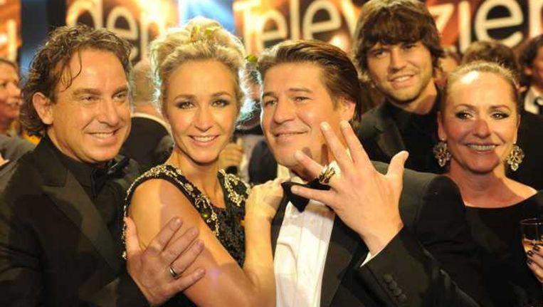 Marco Borsato, Wendy van Dijk en Martijn Krabbe van The Voice of Holland. Beeld anp