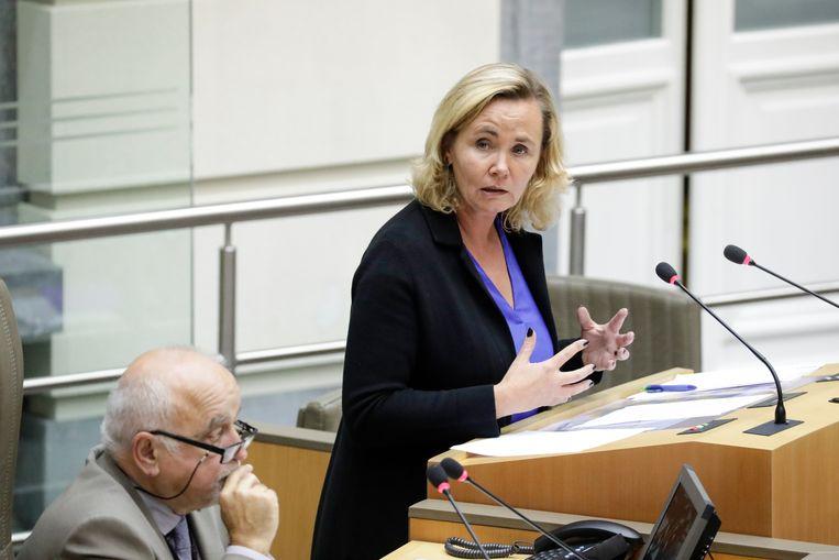 Voorzitter van het Vlaams Parlement Jan Peumans en Vlaams minister Liesbeth Homans. Beeld BELGA