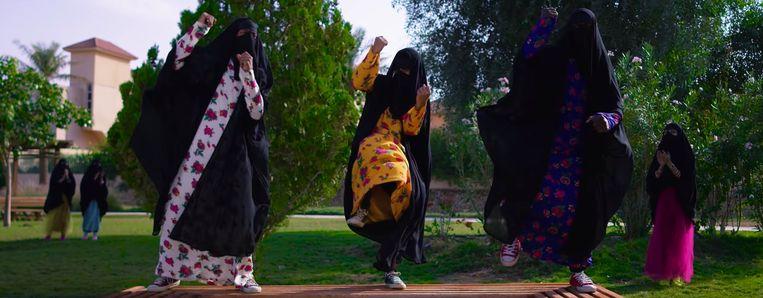 Deze Saoedische zangeressen dansen voor meer vrouwenrechten. Beeld rv