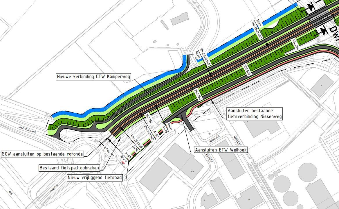Uitsnede van de kaart waarin de verbreding van de Zanddijk in detail is uitgewerkt. Door de aanleg van het viaduct over het spoor (rechtsboven), verdwijnt de kruising Zanddijk-Stationsweg. In plaats daarvan komt de (verlengde) Stationsweg uit ter hoogte van het Agri-tankstation. Rond die T-splitsing voorzien de uienbedrijven chaos.