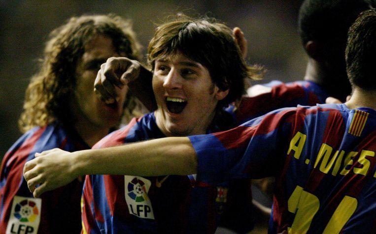 Lionel Messi in actie voor het eerste team van Barcelona in 2005. Beeld afp