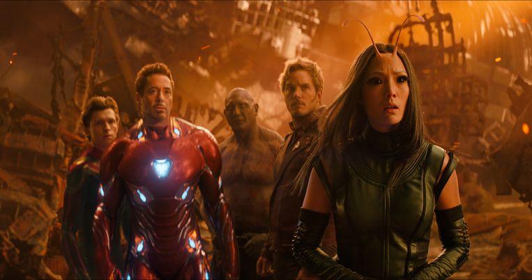 Tom Holland, Robert Downey Jr., Dave Bautista, Chris Pratt en Pom Klementieff in Avengers: Infinity War Beeld AP