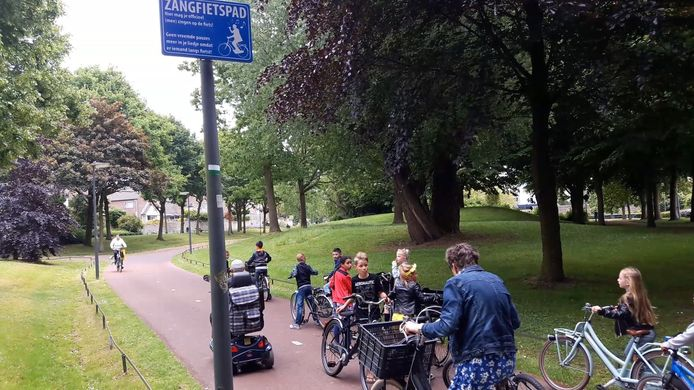 Het zangfietspad in Veenendaal dat vorig jaar werd geopend in het kader van Veenendaal Fietsstad.