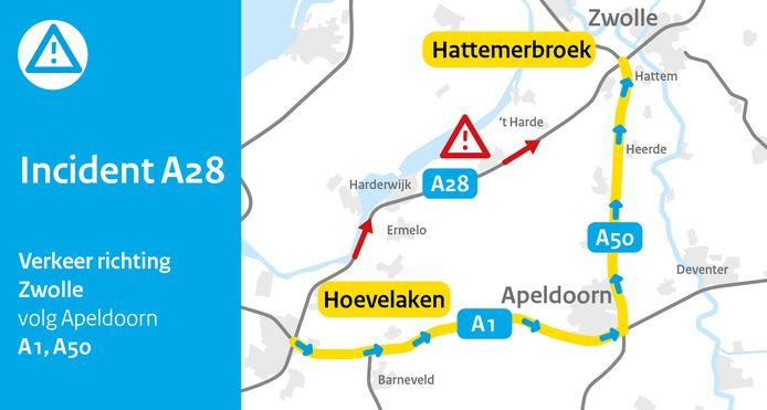 Rijkswaterstaat waarschuwt voor een grote file op de A28.