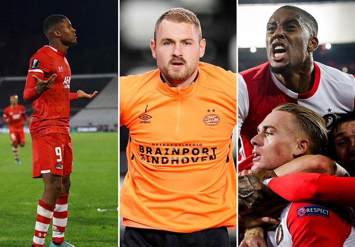 AZ, PSV en Feyenoord zijn alle drie nog in de race voor de knock-outfase.