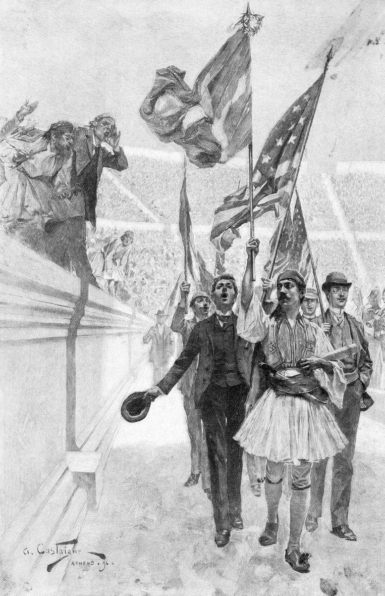 Illustratie van de winnaarsparade in 1896, met de Griekse held Spiridon Louis op kop.  Beeld Bettmann Archive