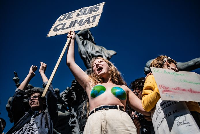 Klimaatprotest vandaag in Parijs.