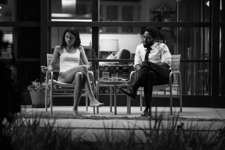 Zendaya als Marie en John David Washington als Malcolm in 'Malcolm & Marie'.  Beeld DOMINIC MILLER/NETFLIX© 2021