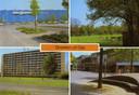 De blauwe wand op een ansichtkaart van Oss uit de jaren 80.