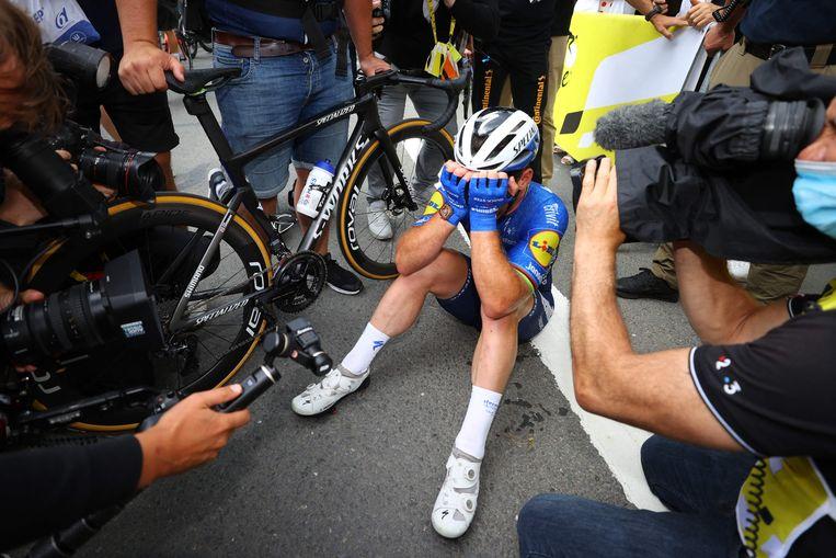 Cavendish na zijn winst in de vierde etappe van de Ronde van Frankrijk. Beeld AFP