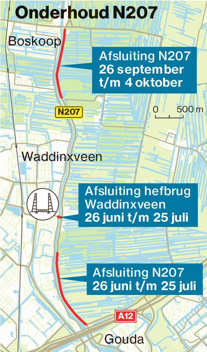 De werkzaamheden deze zomer en dit najaar aan de N207 Gouda - Boskoop en aan de hefbrug van Waddinxveen