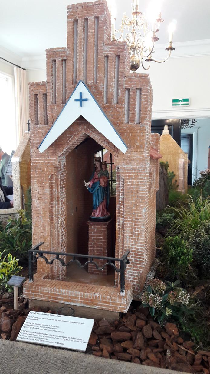 Model dat Frans Mathijssen maakte van de kapel Onze Lieve Vrouwe van de Vrede in de Oekelsestraat