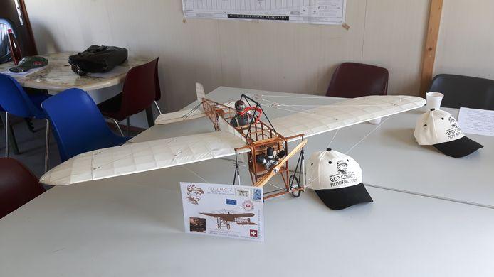 Een schaalmodel van de Blériot XI. Het model waar in september mee wordt gevlogen is vijf keer zo groot.