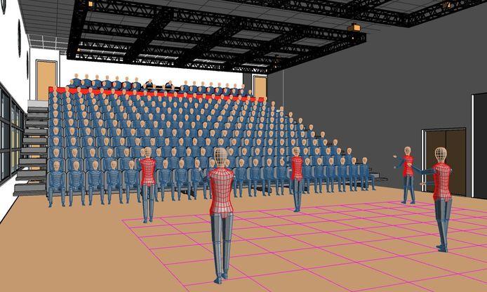 Een eerdere schets van de podiumzaal in Schijndel. De mobiele tribune maakt plaats voor een vaste tribune met 250 stoelen.