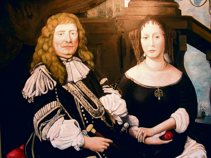 De door Gemertenaar Albert van Boxtel gemaakte reproductie van het schilderij van Jan van Amstel en zijn tweede vrouw Anna Boxhoorn.