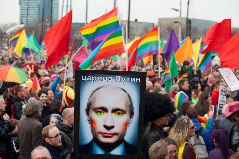 Protest tegen Russisch president Vladimir Poetin in Amsterdam. Beeld REUTERS