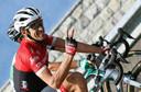 Contador zit ontspannen op zijn fiets tijdens de Vuelta.