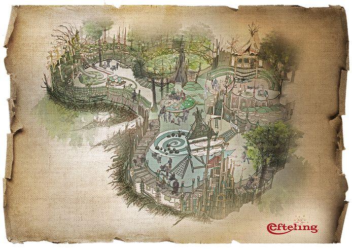 Een schets van de nieuwe attractie, genaamd Nest!