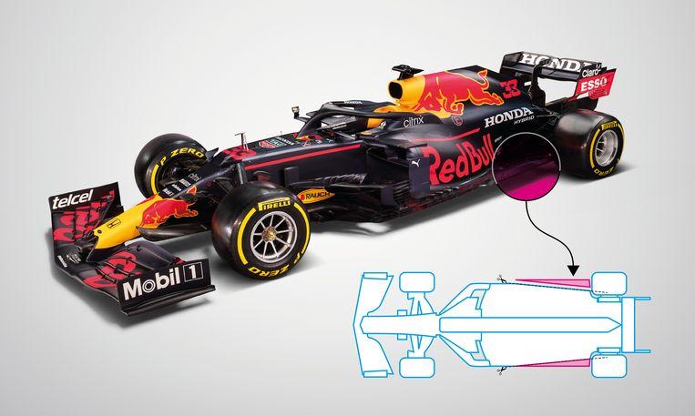 De nieuwe bolide van Max Verstappen. Het grootste verschil in vergelijking met de auto van vorig jaar is van bovenaf goed te zien; het is alsof de 'vloer' (de onderkant van de auto) met een schaar schuin naar achteren is afgeknipt. Beeld Red Bull Content Pool/de Volkskrant infographics