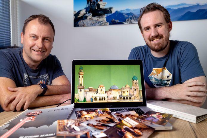 Sander Roeling (rechts) en Marwin van de Hoeve hebben een documentaire gemaakt over de totstandkoming van Efteling-attractie Fata Morgana.