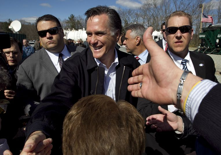 Mitt Romney tijdens campagne in Tunkhannock. Beeld ap