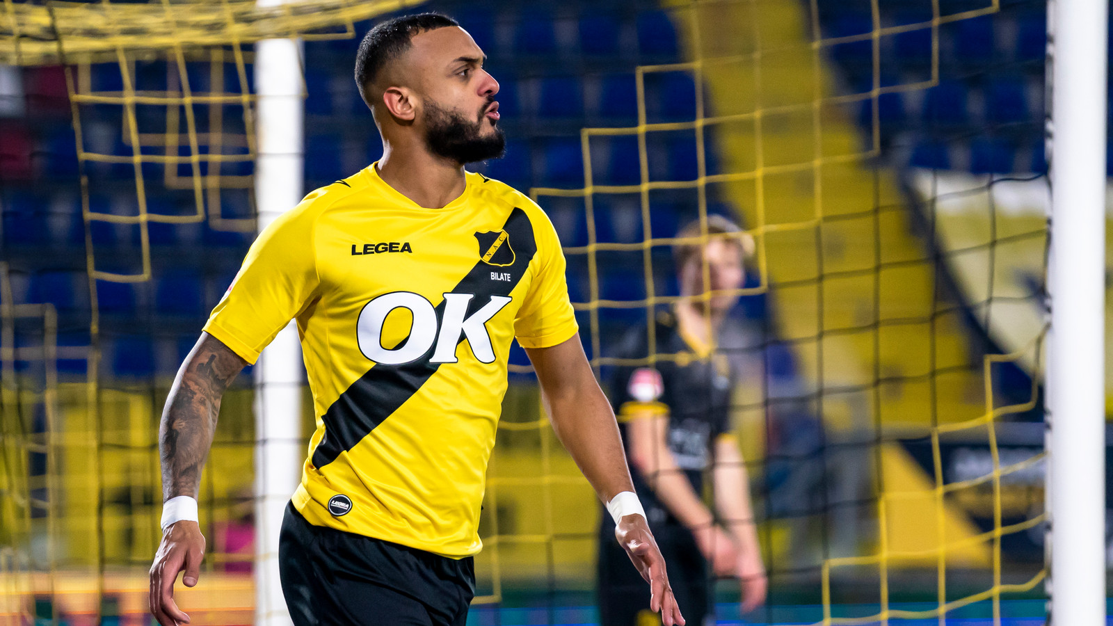 Invaller Mario Bilate is blij nadat hij NAC op 2-2 heeft gebracht tegen Roda JC vlak voor tijd.