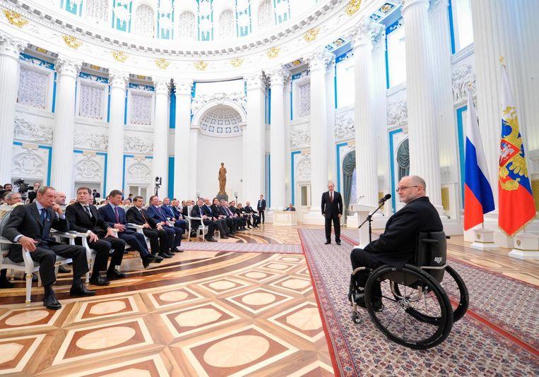 IPC-voorzitter Philip Craven in het Kremlin. Beeld ap
