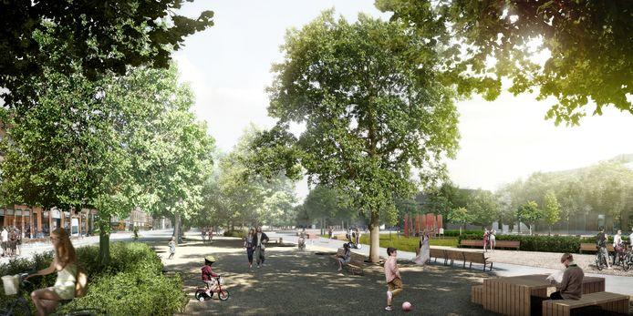 Zo zal het park op de Gedempte Zuiderdokken in Antwerpen er binnenkort uitzien.
