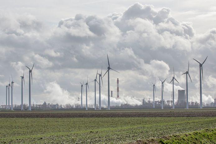 Het Eneco windmolenpark dat wordt vervangen door 16 nieuwe windmolens van windpark ZE-BRA.