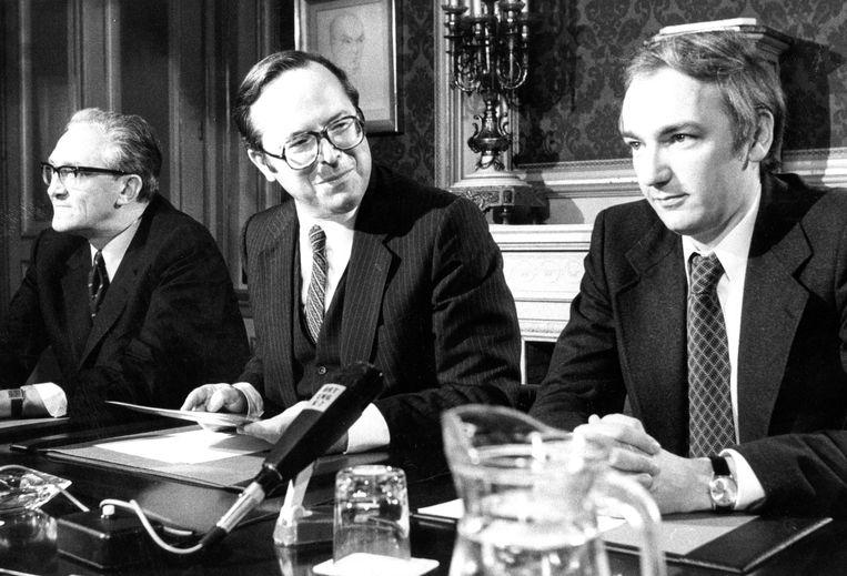 José Desmarets, Wilfried Martens en Philippe Maystadt op een foto uit 1979.