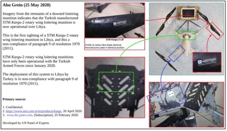 De VN toont in het rapport deze beelden van een neergehaalde drone. Beeld RV