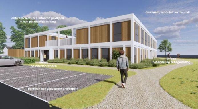 Een impressie van hoe het wooncentrum voor verslaafden op het Gezondheidspark in Hengelo er uit kan komen te zien.