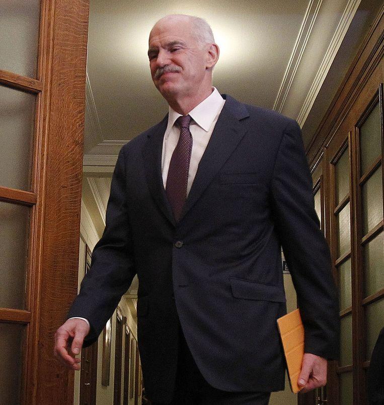 De Griekse premier George Papandreou. Beeld ap