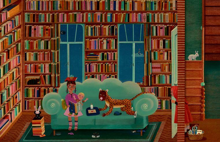 Als lezer klim je in 'Feest in de wolken' mee met de hoofdpersonages door het boek verticaal open te vouwen. Beeld RV Tom Schamp