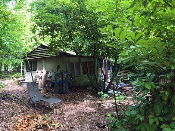In deze hut woont Michiels ongeveer een jaar.
