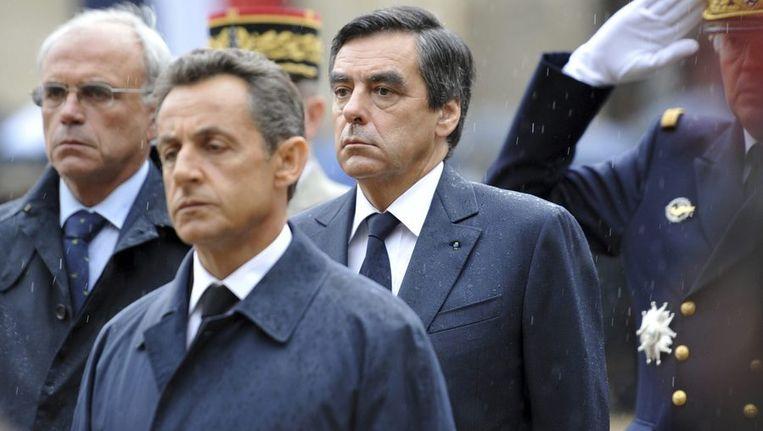 President Nicolas Sarkozy voorop. Beeld reuters