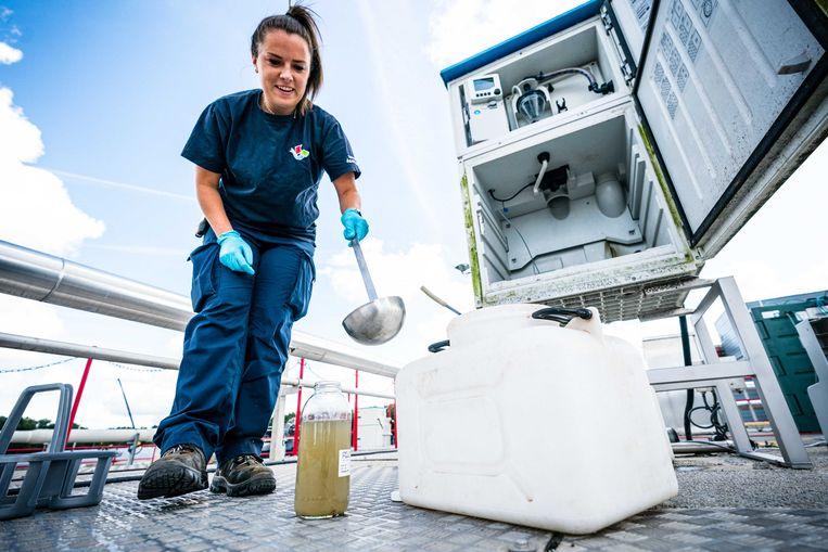 Een medewerker van de Nederlandse rioolwaterzuivering neemt een monster van het rioolwater voor onderzoek op virusdeeltjes.