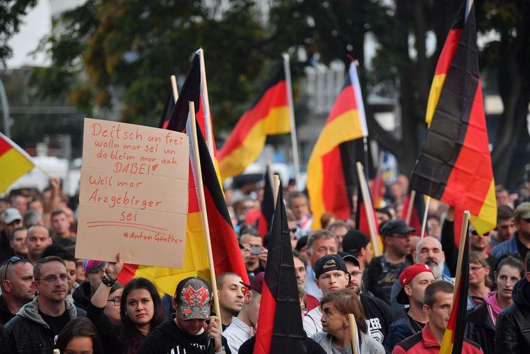 Protestmars in de Duitse stad Chemnitz.