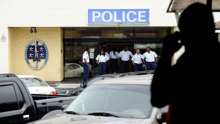 Een politiebureau in het centrum van Philipsburg, Sint Maarten. Beeld anp
