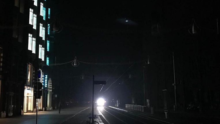 Amsterdam tijdens de stroomstoring in januari Beeld Joep van der Wiel