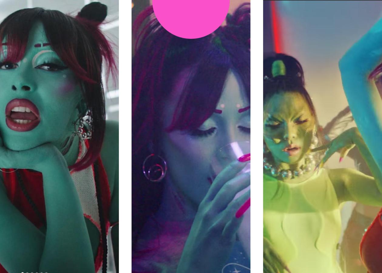 Doja Cat met de 'Wheel Hoops', de 'Concentric Earrings' en haar danseres met de 'Pearl Necklace'.
