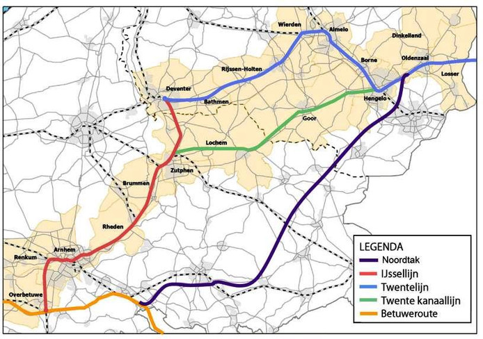 Diverse spoorlijnen, met uiterst rechts het alternatief van de noordtak door de Achterhoek
