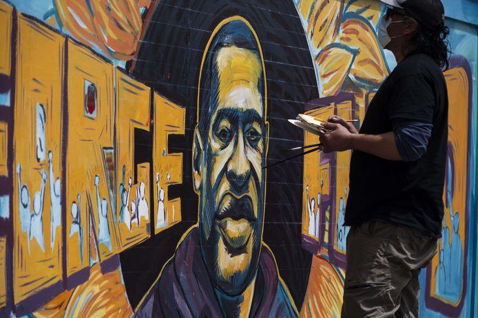 Een muurtekening van George Floyd, die door politiegeweld om het leven kwam.