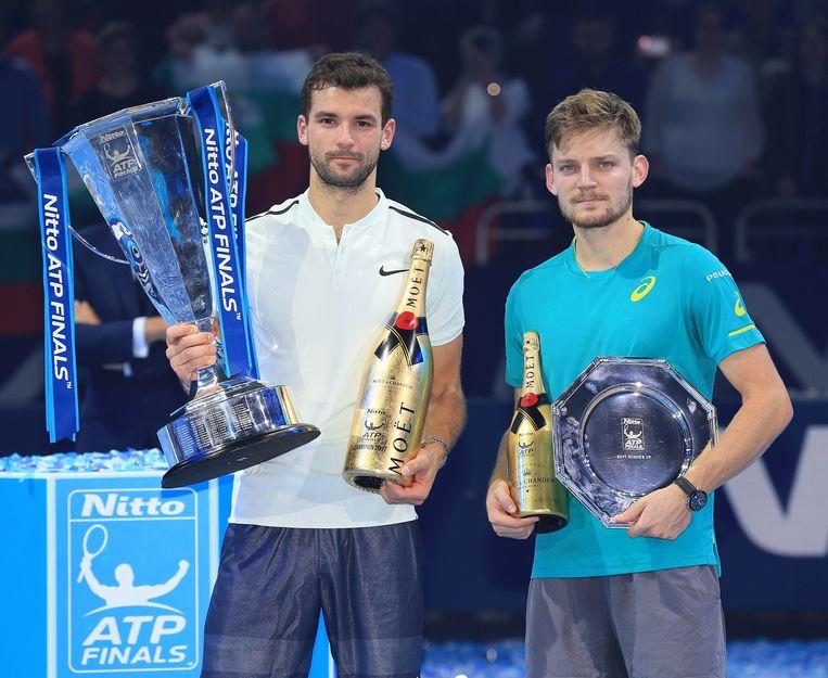 David Goffin (R) kon de finale niet winnen van Grigor Dimitrov. Beeld Photo News
