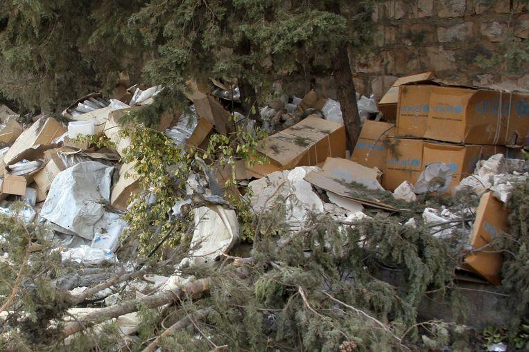 Vernielde hulpgoederen in het westen van Aleppo. Beeld REUTERS
