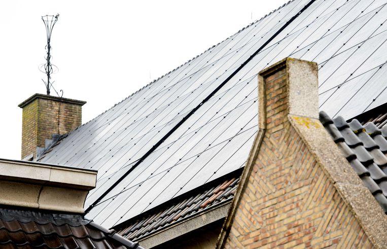 Zonnepanelen op het dak van een kerk in Bunschoten. Beeld ANP