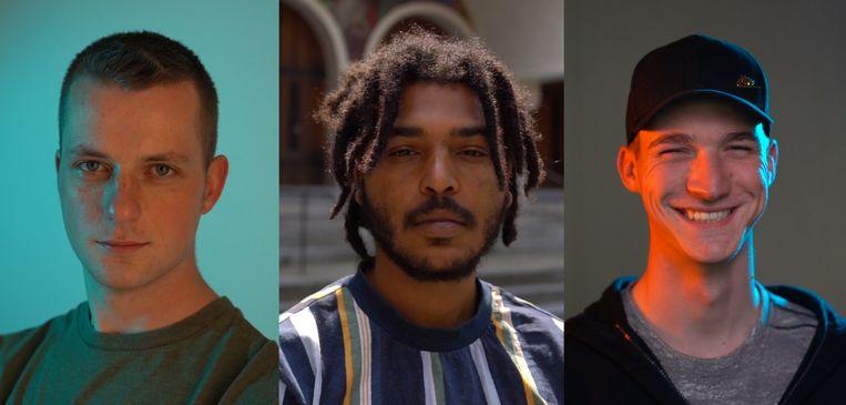 Giovanni, Yeboah en Elias getuigen in de onderzoeksreeks 'Jongens toch'. Beeld Wouter Van Vooren