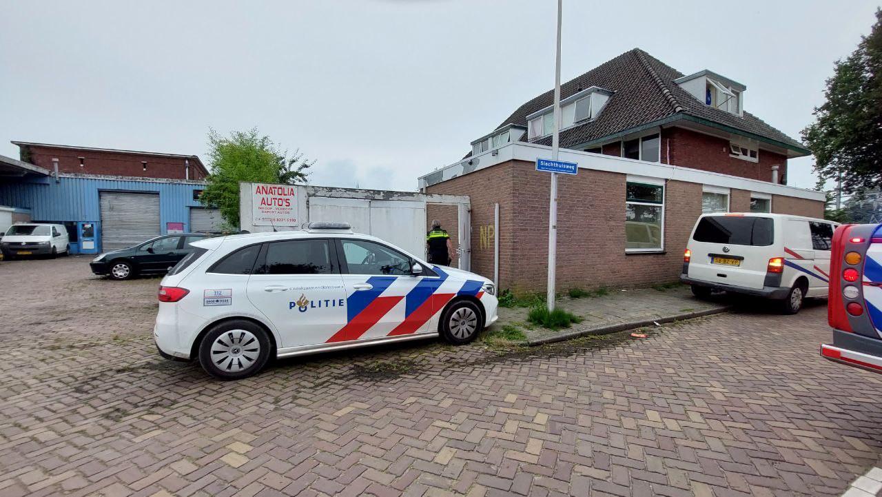 Hulpdiensten aan de Slachthuisweg in Hengelo.